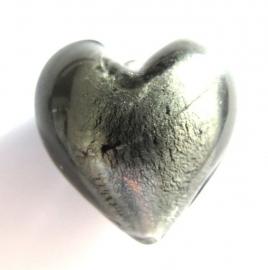Glaskraal Hart grijs zilverfoil 19mm