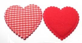 Stof hart XL geruit rood (09AP00001)