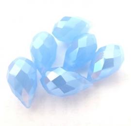 Glaskralen kristal druppel facet geslepen met mooie glans mat blauw 14 mm (1309222)