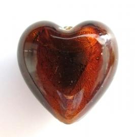 Glaskraal Hart bruin zilverfoil 19 mm