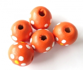 Houten kraal bloemetje large oranje (06K000479)
