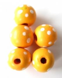 Houten kraal bloemetje large fel oranje (09K000685)