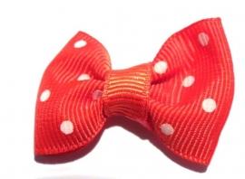 Strikje rood lint met witte polkadots (11AP00239)