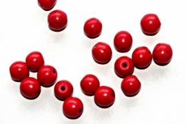 Rode keramische kraaltjes met licht craquele 8 mm (per 10 stuks)