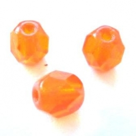 Glazen facet ovaal oranje 6 mm (05K000028) 10 stuks