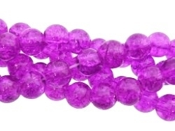 Crackle beads lila (06K000254) 10 stuks