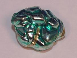 Bijzondere gepofte kraal met goudaccenten in 18 mm (14K013)