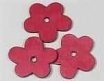 Houten platte bloem rood 37 x34 mm