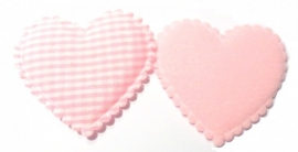 Stof hart XL geruit roze (09AP00096)