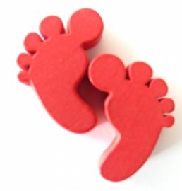 Houten voetjes Rood
