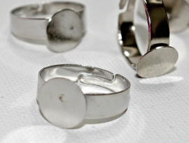 Metalen vingerring met plakvlak van 10 mm