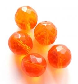 Facetkraal oranje Tsjechisch glas 14 mm (06K000612)
