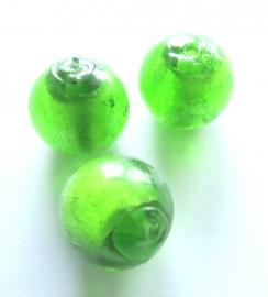 Glaskraal groen met zilverlaagje 8 mm