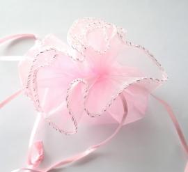 Rond organza zakje roze effen.