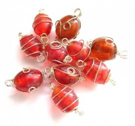 Wire wrapped ovaal rood (per 10 stk) 0(06K000185)