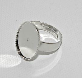 Metalen ring met ovaal, omlijste plakvlak 13 x 18 mm per 10 stuks