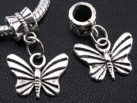 Pandorastyle kraal met vlinderhanger (tibetaans zilver)