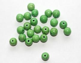 Groene keramische kraaltjes met licht craquele 8 mm (per 10 stuks)