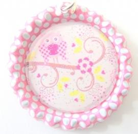 Bottle cap roze/wit met uiltje