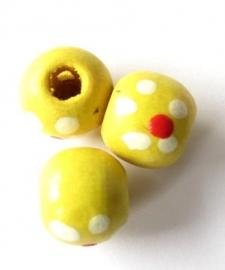 Houten kraal bloemetje medium geel (06K000462)