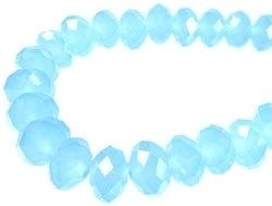 Glas rondel facet geslepen licht saffier blauw 8 mm (1304599)