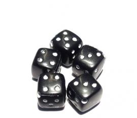 Dobbelsteen kraal zwart 10 stuks (06K00638)