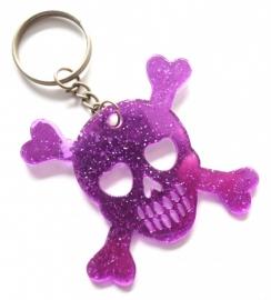 Sleutelhanger skull paars/glitter (08SK0077)