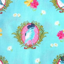 Retro stof blauw met vogel
