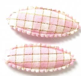 Kniphoesje kids ovaal met roze ruitjes en een gouddraad (11KN000170)