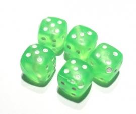 Dobbelsteen kraal groen transparant 10 stuks (09K00641)