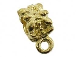 Metalen kraal goudkleurig bewerkt met hangeroog groot gat