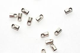 DQ eindkapje antiek zilver 3.2 mm (per 2 stuks)