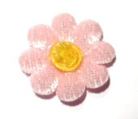 Applicatie bloem velours roze (10AP00136)