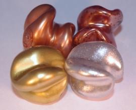 Feestelijke organische kralen in goud, zilver en koper (14K004)