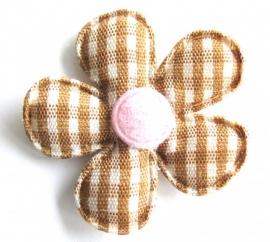Applicatie bloem geruit bruin met roze (09AP00057)