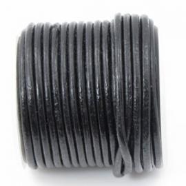 DQ zwart leer rond 3 mm (per 0,5 meter)