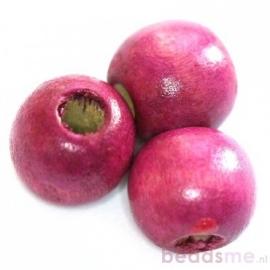 Ronde houten kraal roze 12 mm 10 stuks