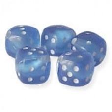Blauwe dobbelstenen.