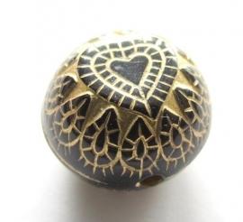 Metallook zwart-goud rond met hartjes 15 x 11 mm (09K000566)