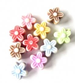 Acryl bloemetjes mix 10 stuks (06K000075)