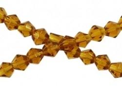 Glazen facet bicone bruin/oranje 6 mm (06K000152) 10 stuks