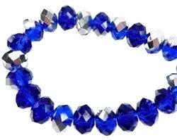 Glaskralen kristal rondel facet geslepen met zilverkleurige coating donker blauw 8 mm (1307689)