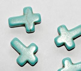 Turquoise keramische kruisjes met licht craquele 12x16 mm