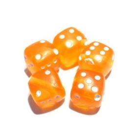 Dobbelsteen kraal oranje transparant 10 stuks (06K00644)
