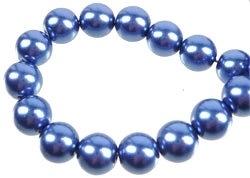 Glas parels 6 mm blauw 10 stuks (1307272)