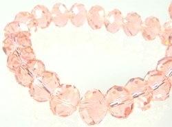Glas kristal rondel facet geslepen met mooie glans roze/zalm 10 mm (1304261)