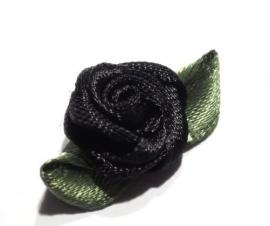 Satijn roosje zwart (09AP00010)
