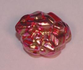 Bijzondere gepofte kraal met goudaccenten in 12 mm (14K013)