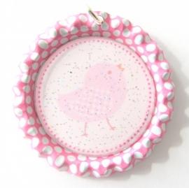 Bottle cap roze/wit met kuiken