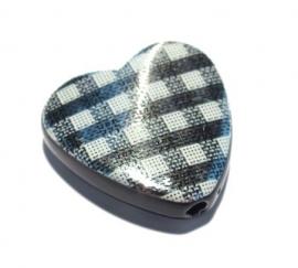 Acryl hart met ruitjes zilverkleur20 x 6 mm (09K000634)